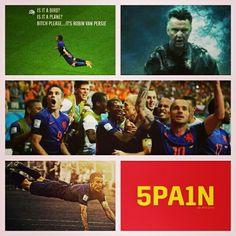 Dutch soccertean beats spain 5-1 at the Worldcup