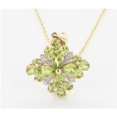Pre-owned 10K 14K Yellow Gold Diamond Peridot Pendant Necklace ($336) ❤ liked on Polyvore featuring jewelry, necklaces, gold pendant necklace, diamond pendant necklace, chain necklaces, 14k gold pendant and diamond necklace