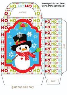 HOHOHO Christmas Snowman gift bag 1 on Craftsuprint designed by Sharon Poore - Christmas Snowman gift bag,you will need to print 2 sheets to make the gift bag - Now available for download!