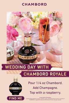 The perfect two-ingredient wedding cocktail for a signature drink or twist on champagne HOW TO MAKE A CHAMBORD ROYALE ¼ oz Chambord Liqueur Champagne Raspberry Pour Chambord into a flute glass. Top with champagne. Finish with a raspberry. Party Drinks, Cocktail Drinks, Fun Drinks, Yummy Drinks, Cocktail Recipes, Alcoholic Drinks, Beverages, Cocktails, Martinis