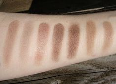 (Left to Right): MAC Era, Patina, Woodwinked, Tempting, Tempting (oops! swatched it twice), Soba, Cork