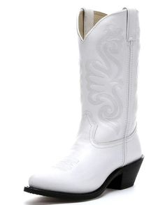 """Show your wild side with Durango's 11"""" Western Boots - Wild White. The upper of this boot is crafted from white full-grain leather. Fancy stitching on the shaft is monochromatic and adds a unique and cute look. Inside, the boot is lined in leather, and a cushioned insole will soften your steps. If you have been on the hunt ..."""