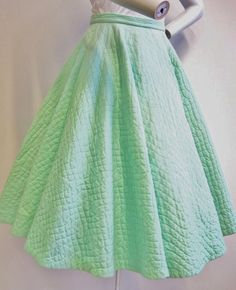 1950's Mint Green Quilted Circle Skirt   25 Waist by ViasVintage