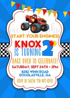 This printable Blaze and the Monster Machine invitation features the monster truck himself, and is sure to excite your guests for the upcoming birthday party! The invitations are available as a digital file that you print yourself, or as printed invitations that we print and ship to your doorstep along with envelopes. Read below for more details! {(DIGITAL FILES)} ♥ You will receive a single, personalized 4x6 or 5x7 JPG photo file. Just save the image to your computer, and upload it online…