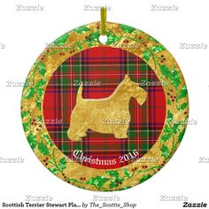 Scottish Terrier Stewart Plaid Personalize Ceramic Ornament