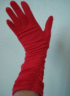 Vintage 1950s Gloves Red with Ruching 2013319 by bycinbyhand, $28.00