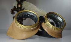 #Groomsmen #Gift Ideas | #Steampunk Goggles Tan Leather | Industrial Accessories