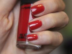MAC Russian red Polish. It doesn't get sexier than this!  Click for review and more swatches