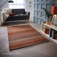 This Rust striped floor rug called Carter features seductive shades and instantly adds charm with a splash of colour to any floor. Striped rugs offer a fashionable look that is easily integrated into into your existing decor. Made from wool Carters t Orange Rugs, Rust Orange, Color Stripes, Stripes Design, Striped Rug, Rust Color, Rugs Online, Modern Rugs, Contemporary Rugs