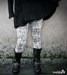 GRAPHITE  Goth Leggings blanc industriel mode foncé par siskatank