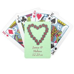 Personalized Poinsettia Heart Christmas Playing Cards for Weddings