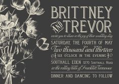 dark gray invitation with vintage inspired typography