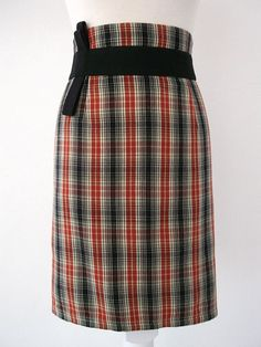 Red, Black and Beig Tartan Skirt. Luci Lü by twyggi. Explore more products on http://twyggi.etsy.com