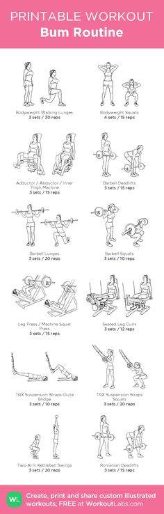 Bum Routine – illustrated exercise plan created at WorkoutLabs.com • Click for a…