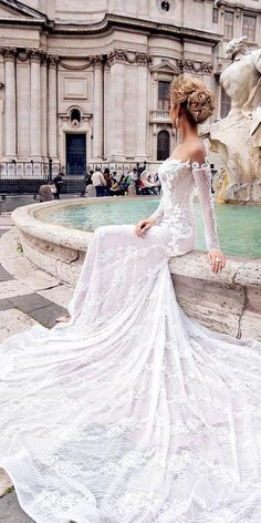 Romantic Off The Shoulder Wedding Dresses ❤ See more: http://www.weddingforward.com/off-the-shoulder-wedding-dresses/ #weddings