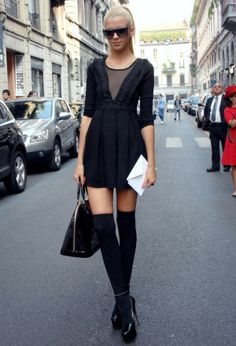 Knee High Sock are cute, stylish fashion piece that are perfect for trendy street style outfit with skirts and shorts when the weather is cold. Knee High Socks Outfit, High Socks Outfits, Socks And Heels, Knee Socks, Stylish Outfits, Cute Outfits, Fashion Outfits, Fashion Women, High Fashion