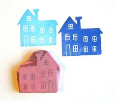 Hand carved rubber stamp  handmade house by GreenGardenStamps, $8.50