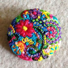 Freeform embroidery brooch bright floral circle brooch 58