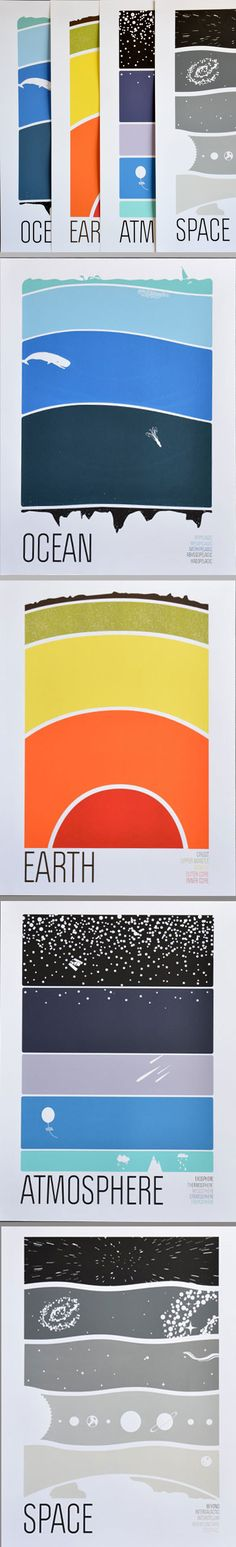 "Earth! And Science! And Art! Hooray! This discounted set includes all four Earth Science prints from Brainstorm: Earth, Atmosphere, Ocean, and Space. Each 5-color screenprint measures 18"" x 24."" #colossal #earthscience"