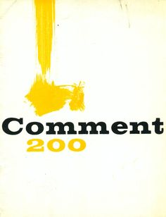 Comment magazine cover. Designed by Henry Wolf, 1962