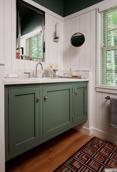 what's here: barnstead door, farrow and ball green smoke, maple, square… Painting Bathroom Cabinets, Bathroom Cupboards, Bath Cabinets, Green Kitchen Cupboards, Bathroom Laundry, Kitchen Cabinetry, Small Bathroom, Bathroom Ideas, Farrow Ball