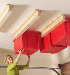 Top 80 Best Tool Storage Ideas - Organized Garage Designs : Overhead Bins In Garage Small Space Tool Storage Ideas From power to hand tools and beyond, discover the top 80 best tool storage ideas. Explore cool organized garage and workshop designs. Garage Organization Tips, Diy Garage Storage, Storage Hacks, Storage Bins, Tool Storage, Storage Solutions, Storage Ideas, Household Organization, Organizing Ideas