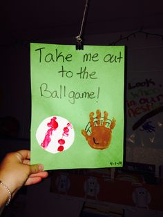 Take me out to the ball game. Cute easy baseball themed crafts. Finger print baseballs and hand print mitts