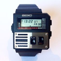 For this week's Tomas talks about the Seiko Voice Note as featured in the 1984 blockbuster Ghostbusters. Retro Watches, Vintage Watches, Cool Watches, Watches For Men, Dream Watches, Wrist Watches, Men's Watches, Festina, 80s Design