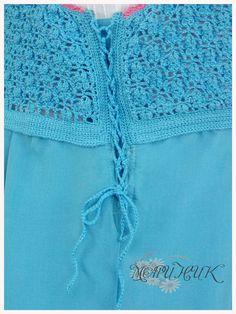 Океан идей от Мариника: Комбинированный летний сарафан с шарфом-платком (вязаный лиф,сшитый низ)