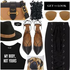 Go Black Lace Up Clothing by jiabao-krohn on Polyvore featuring polyvore, fashion, style, Minga, Exclusive for Intermix, Aquazzura, Prada, Volcom, Christian Dior and Topshop