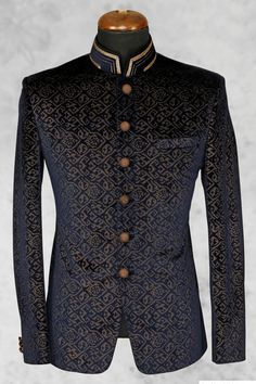 #Black presentable #velvet suit with bandhgala collar-ST509