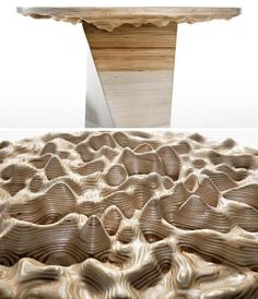 DIY Work of CNC Art: 3D Topographic Wood Table Project. I put this in Children's Rooms bc I often feel that the undersides of things are forgotten, while they are exactly what children see most as they crawl about on the floor. The undersides should be celebrated, and hidden happy things put there.