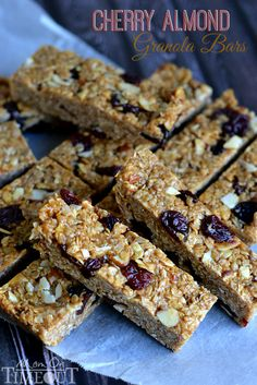 Chewy, 10-minute, NO BAKE Cherry Almond Granola Bars! | MomOnTimeout.com @Trish - Mom On Timeout