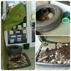 A bug area for the pre-schoolers is set up just outside the garden door to encourage children to explore in the outside environment. This encourages the children to look closely to insects which will give lots of opportunities to talk about the importance of caring for the envirnoment and living objects. Along with where insects live and changes over time.