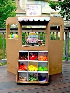Make a grocery store out of boxes for kids to play with. Use dollar store items and taped food boxes your finished with.