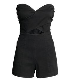 Check this out! Strapless playsuit in stretch twill with a wrapover front with cut-out sections, a seam at the waist, visible zip at the back, side pockets and short legs. The bodice is lined and has a silicone trim at the top.  - Visit hm.com to see more.