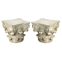 Antique Carved Marble Corinthian Capitals  France  Circa 1850s.