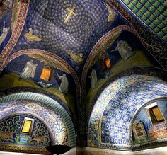 EARLY CHRISTIAN ARCHITECTURE- Mausoleum of Galla Placidia, Ravenna, 425. It has the earliest and best preserved of all mosaic monuments.