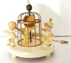Vintage Baby Nursery Lamp Musical Lion Table Lamp No Shade 1960s Retro Wooden