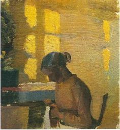 *Sewing Girl in Interior, Anna Ancher* Woman Painting, Figure Painting, Anna, Nordic Art, Impressionism Art, Classical Art, Shades Of Yellow, Art Forms, Female Art