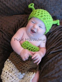Baby Boy PHOTO Prop  Cartoon OGRE Inspired  Hat by pixieharmony, $38.95