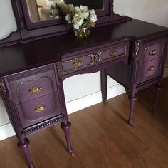 SOLD Antique painted Vanity dresser plum and gold. Painting Antique Furniture, Refurbished Furniture, Paint Furniture, Repurposed Furniture, Rustic Furniture, Furniture Makeover, Vintage Furniture, Modern Furniture, Outdoor Furniture