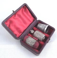 Antique Sterling Silver Sewing Kit in Case Etui 1888 Thimble Measure | eBay