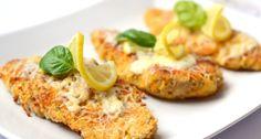 Citromos-cheddaros csirkemell recept | APRÓSÉF.HU - receptek képekkel Salmon Burgers, Mozzarella, Cheddar, Baked Potato, Goodies, Healthy Recipes, Healthy Food, Potatoes, Baking