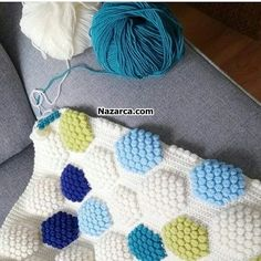 Popcorn Hexagonal Patterned Blanket, Cushion and Cover Sample Making. With all the Knitted Hexagonal Colors, Color Popcorn Patterns and Pr. Crochet Flower Patterns, Baby Knitting Patterns, Crochet Flowers, Crochet Cushions, Crochet Pillow, Popcorn, Knitted Baby Blankets, Diy Embroidery, Bead Crochet