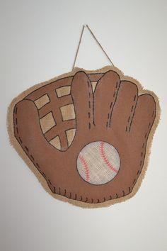Burlap Door Hanger - Baseball Glove. $25.00, via Etsy.