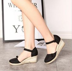 c4802c662 New Womens Ethnic Wedge Mid Heel Sandals Ankle Strap Espadrille Closed Toe  Shoes #fashion #