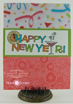 Candy Slabaugh creates a #HappyNewYearCard featuring #Want2Scrap #Bling, #ArtGlitter, and #TayloredExpressions Stamps