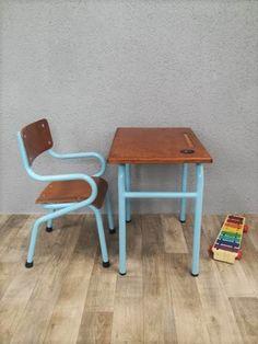 Petite table d'écolier et sa petite chaise Gascoin vintage : Chambre d'enfant, de bébé par perles-de-chine