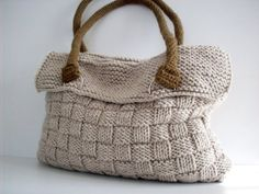 Items similar to NzLbags Everyday Knitted Bag, Shoulder Bag, Handbag - Beige Nr - 075 on Etsy Bag Crochet, Crochet Handbags, Crochet Purses, Knit Bag, Knit Basket, Knitting Accessories, Knitted Bags, Cotton Bag, Handmade Bags